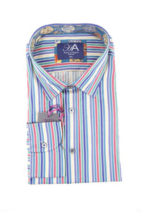 Henry Arlington multi colour stripe long sleeve shirt XXL RRP80 GAB85