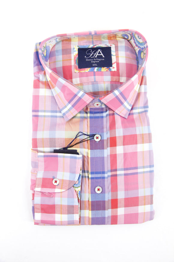 Henry Arlington bright pink check long sleeve shirt XXL RRP80 GAB85