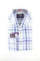 Henry Arlington light blue check linen long sleeve shirt L RRP80 GAB86