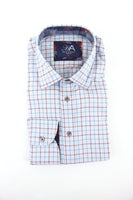 Henry Arlington light blue red check long sleeve shirt L RRP80 GAB86