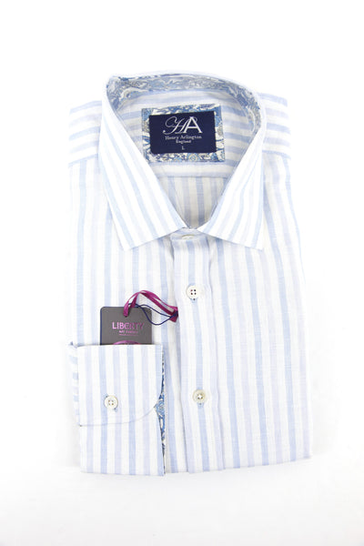 Henry Arlington light blue stripe long sleeve shirt L RRP80 GAB86