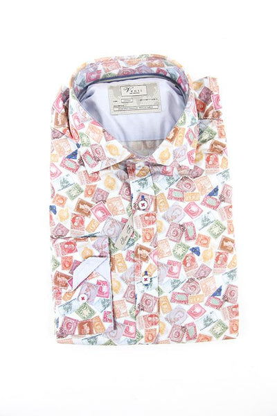 Venti colourful stamp pattern long sleeve shirt M RRP80 GAB88