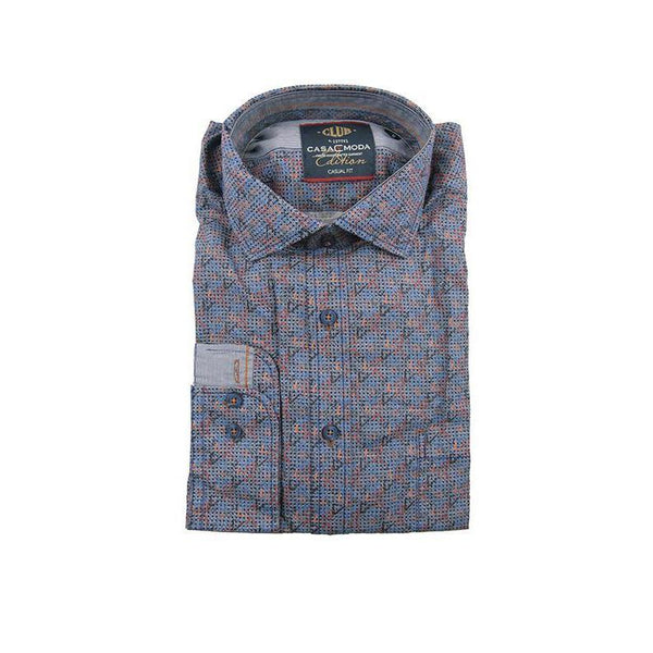 Casa Moda dark blue pattern long sleeve shirt M RRP90 GAB38
