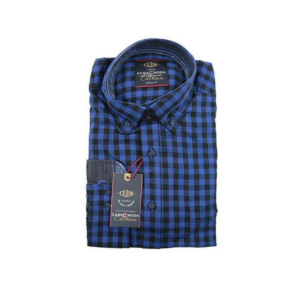 Casa Moda dark blue check long sleeve shirt XL RRP90 GAB38