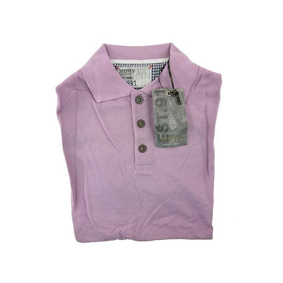 Stones lilac short sleeve polo top size M RRP 50 G03
