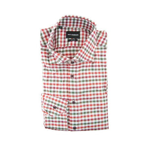 Roy Robson green red check long sleeve shirt size 44 RRP90 G03