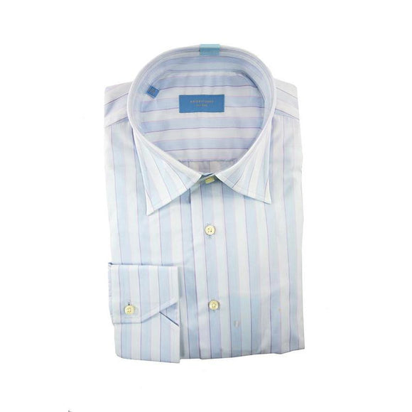 Profuomo light blue striped long sleeve shirt size 39 RRP90 G04