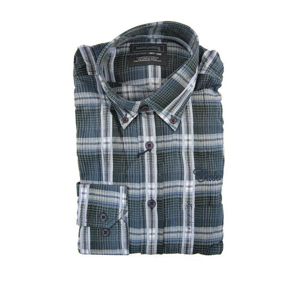 Claudio campione blue check long sleeve shirt size M RRP80 G13