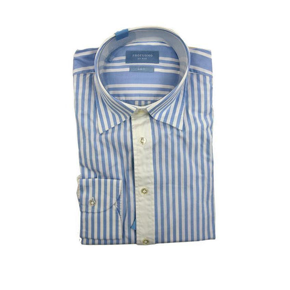 Profuomo Light blue stripe long sleeve shirt size 38 RRP100 G15