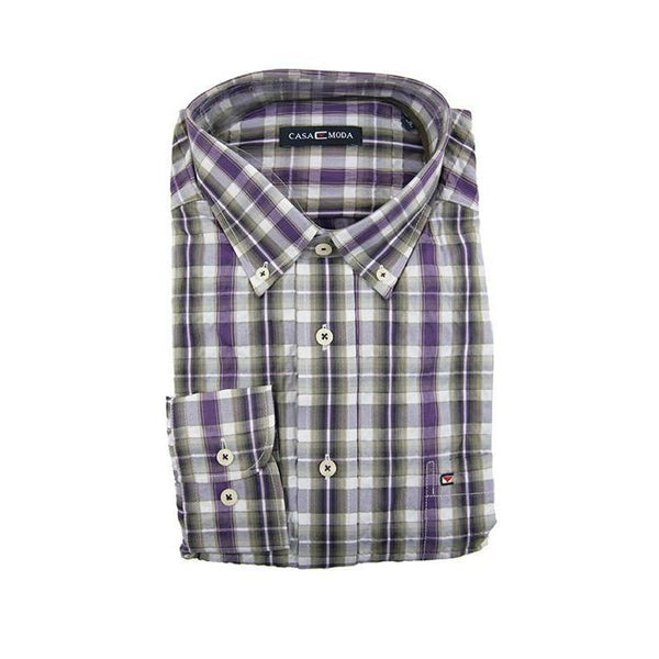 Casa Moda purple check long sleeve shirt XL RRP80 GA20