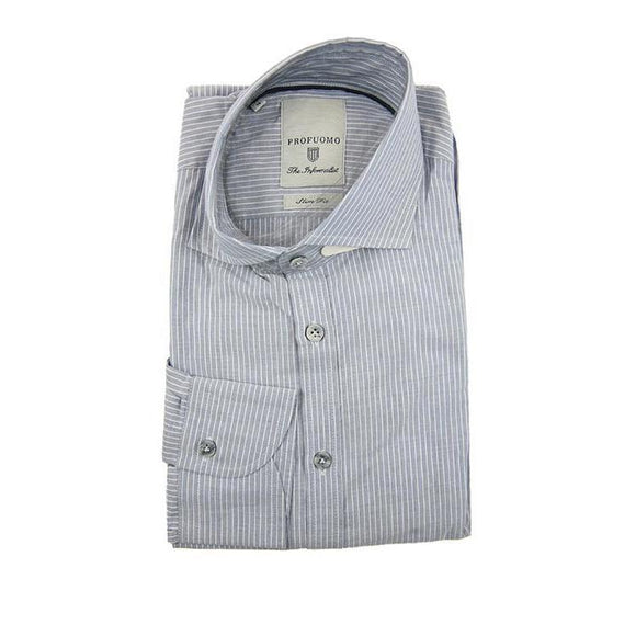 Profuomo light blue stripe long sleeve shirt size 41 RRP80 GA21