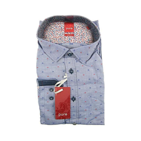 Pure H.Tico mid blue pattern long sleeve shirt XXL RRP80 G23