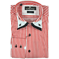 Claudio Lugli red white striped long sleeve shirt size S RRP90 G29
