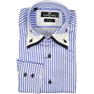Claudio Lugli blue white striped long sleeve shirt size S RRP90 G29