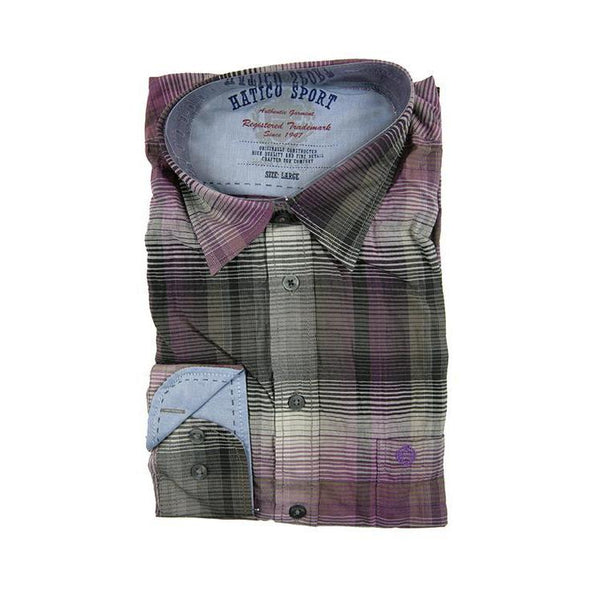 Hatico Sport purple check long sleeve shirt size L RRP80 GA30