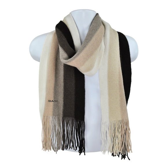 Gant brown cream knit scarf size 1 RRP55 HED2