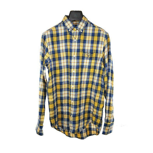Gant yellow blue check long sleeve shirt M RRP95 HED01