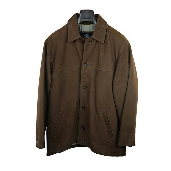 Green Island casual wear brown leather coat size 44 RRP380 GAR