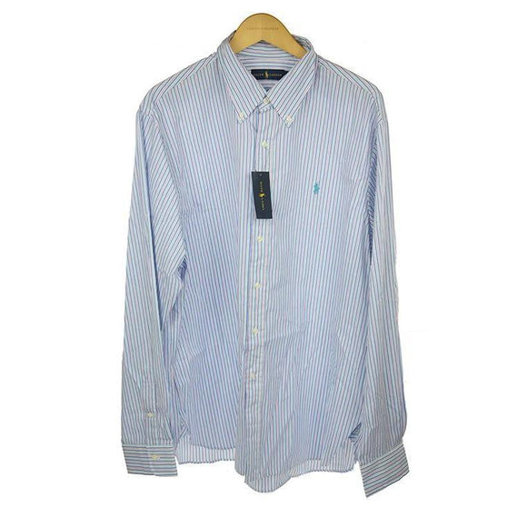 Ralph Lauren turquoise white striped shirt size 17 RRP90 PO33
