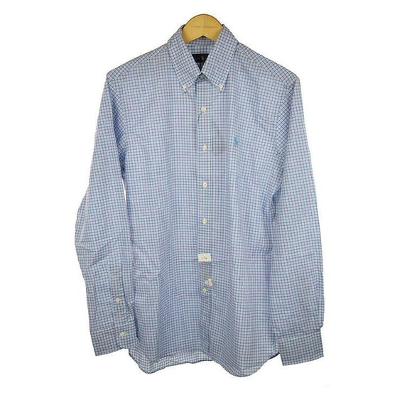 Ralph Lauren lavender pink check long sleeve shirt size 46 RRP95 PO37
