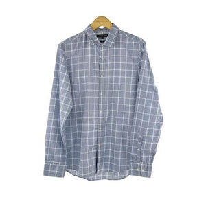 Michael Kors light blue check long sleeve shirt size M RRP 100 P110