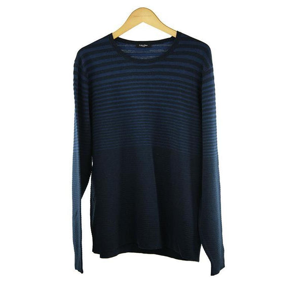 Calvin Klein blue stripe long sleeve jumper size XXL RRP129 P112