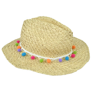 Funky Straw Hat with colourful bobbles as detail