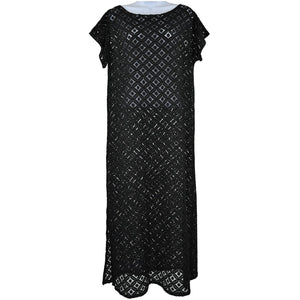 Gemma Black lace short sleeve dress size M RRP50 SH09