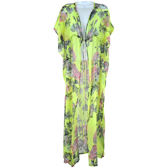 Boutique neon yellow floral pattern beach tunic size S RRP40 SH09