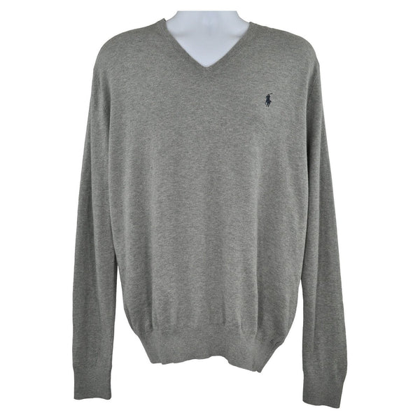 Ralph Lauren Polo Grey long sleeve jumper neck size L RRP125 RTJAN