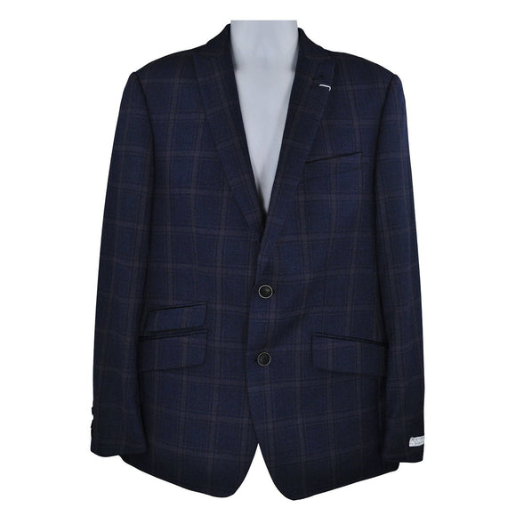 Without Prejudice navy pink check suit jacket UK40 RRP340 DAR240