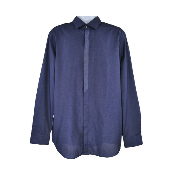 Hugo Boss blue black long sleeve shirt size L RRP125  PO32