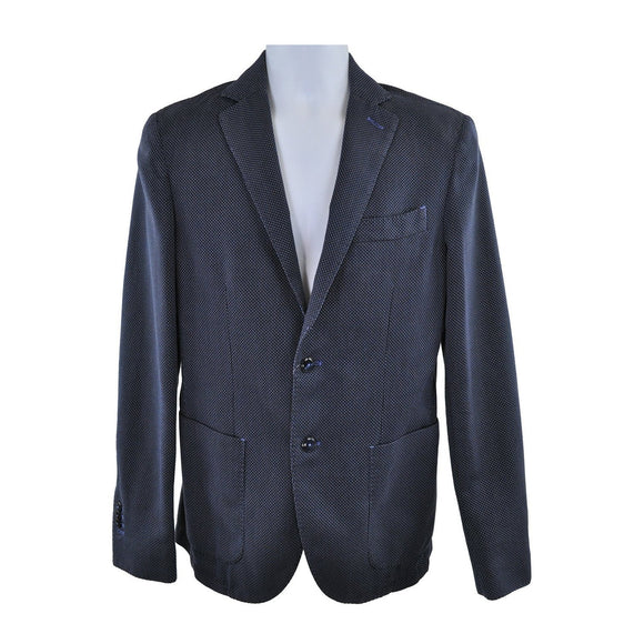 Lubiam Dark Blue Textured Jacket Size 48 RRP375 GI