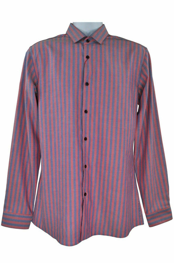 Hugo Boss pink blue stripe long sleeve shirt size XXL RRP80 RDEC