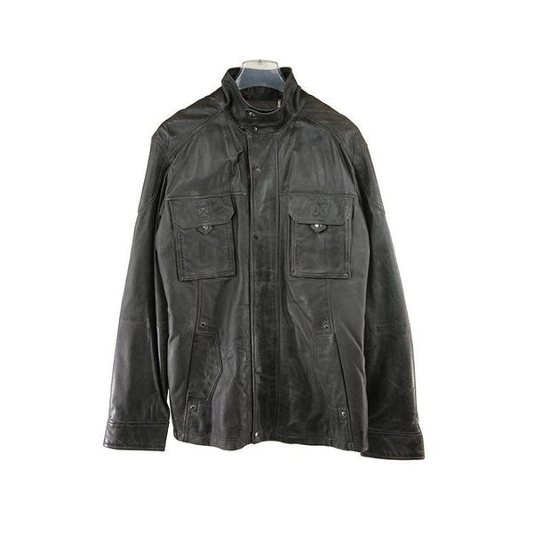 Itallo Dark Brown Leather Jacket Size 50 RRP150 GRAIL
