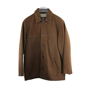 Green Island Mid Brown Leather Jacket Size 44 RRP375 GRAIL