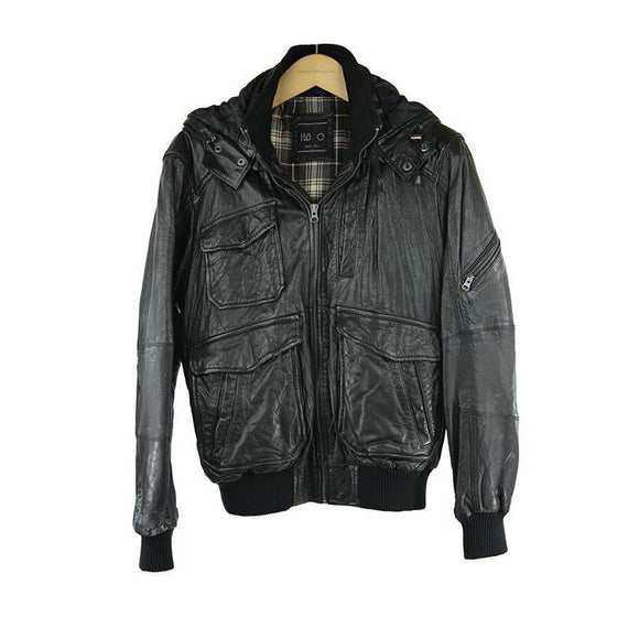 Itallo Black Padded Leather Jacket Size 48 RRP500 GRAIL