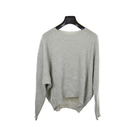 Just Female Womens light grey long sleeve short jumper M RRP85 LYOD
