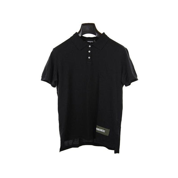 Dsquared black short sleeve polo top M RRP200 DAR238