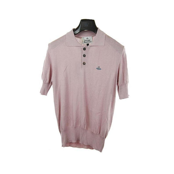 Vivienne Westwood pink short sleeve knitted polo top S RRP245 DAR236A