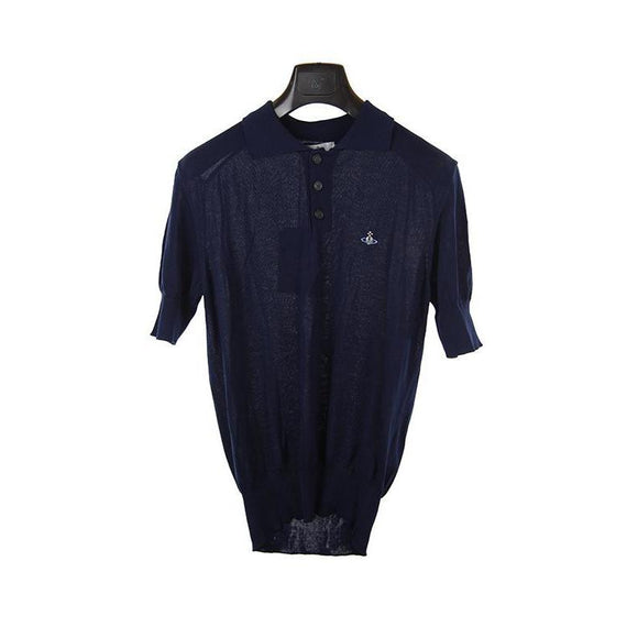Vivienne Westwood navy short sleeve knitted polo top S RRP245 DAR236A
