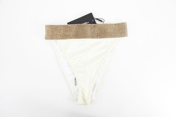 Pretty Little Thing Cream Diamante High Leg Bikini Bottom Uk10 PL11