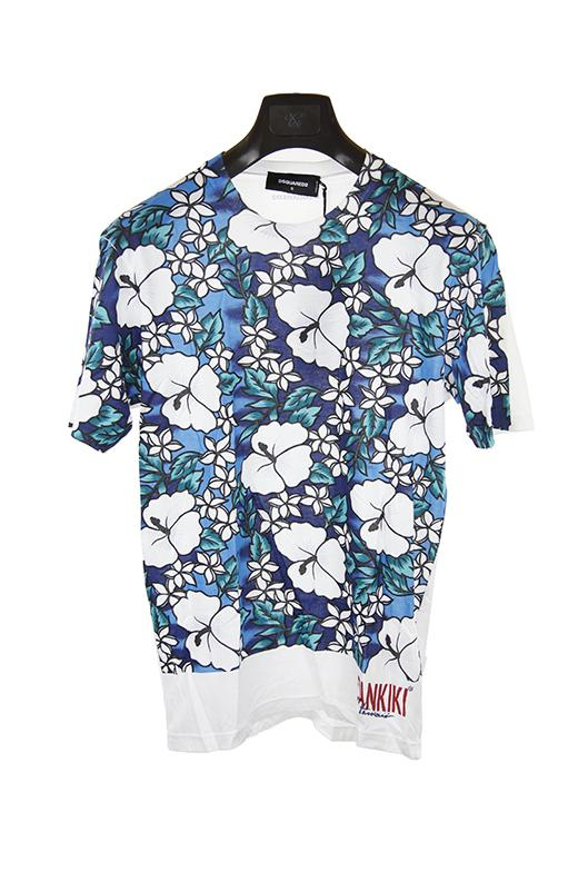 Dsquared white pattern short sleeve t shirt size S RRP325