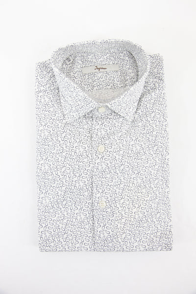 Ingram light grey paisley pattern long sleeve shirt size 38 RRP80 GAB84