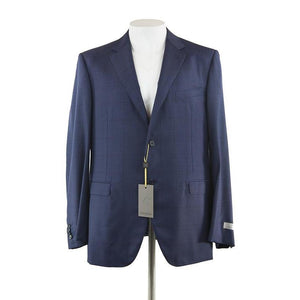 Canali Navy window pane check suit jacket size 50 RRP 995