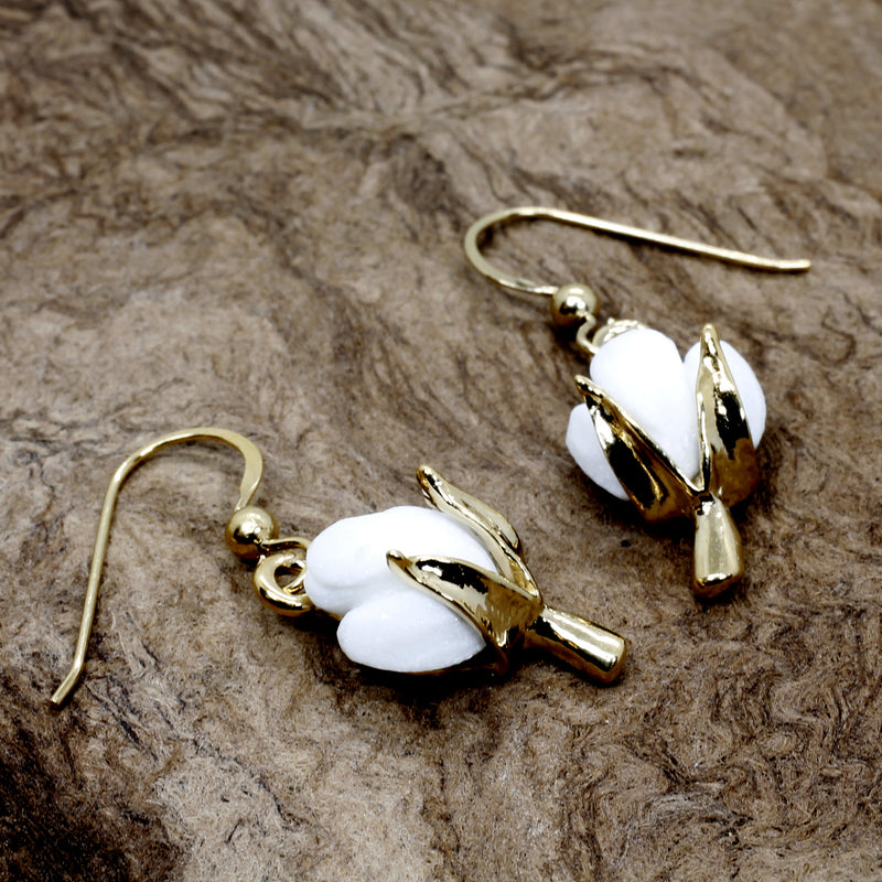 Gold Cotton Boll Dangle Earrings for Second Anniversary Gift