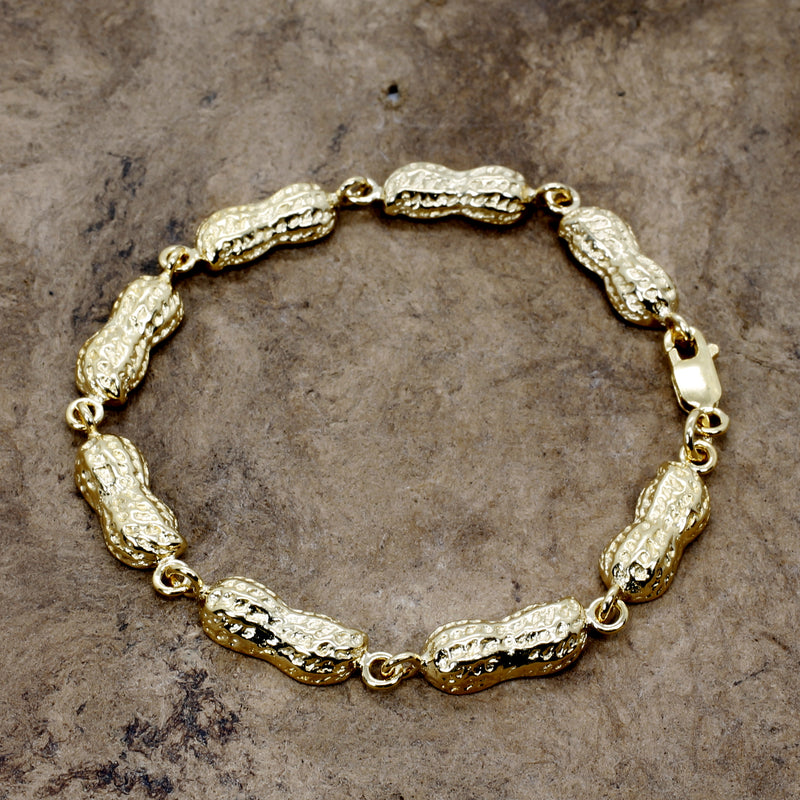 Gold Peanut Link Bracelet with Medium Size peanuts in 14kt gold vermeil