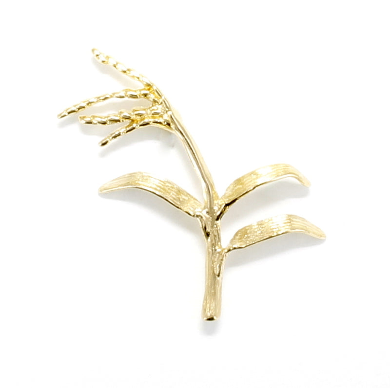 Medium 14kt Gold Vermeil Rice Stalk Tie Tack or Brooch