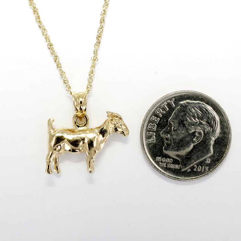 Gold Goat Necklace with a Solid 14kt Yellow Gold 3-D Boer Goat ON SALE FOR $70.00 OFF