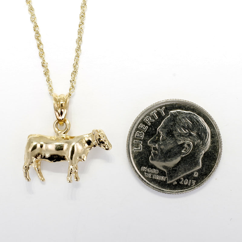 Show Heifer Necklace for her with a 14kt Solid Gold Heifer ON SALE For $80.00 OFF